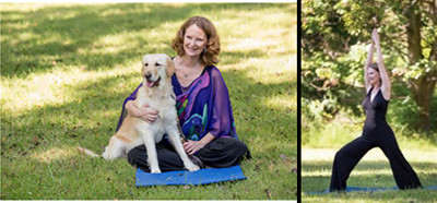 Picture of a lady with a dog and the same lady doing yoga.
